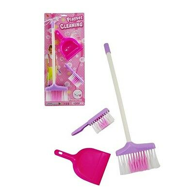 Kids 3 Piece Toy Pretend Broom Dust Pan and Brush Cleaning Set Pink