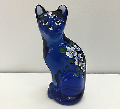 "Fenton Art Glass  Hyacinth Stylized Cat 5"" Handpainted Floral Design Signed"