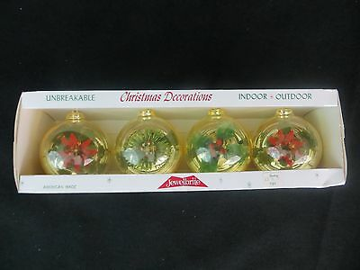 Box Of 4  Vintage Jewelbrite Diorama Christmas Ornaments In Box - New Old Stock