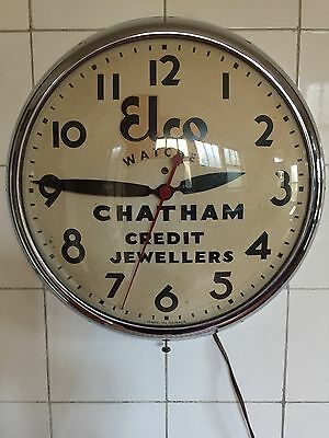 Vintage 1950s 50s Elco Watches Credit Jewelers Chatham Canada Monitor Clock