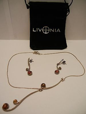 """Livonia Amber Sterling Silver Necklace 16"""" & Earrings 1-3/4"""" Set Orange Green"""