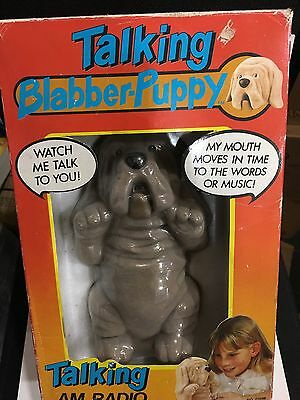 VINTAGE  NOVELTY TALKING BLABBER PUPPY RADIO FROM THE 1970s- 1980s WITH BOX