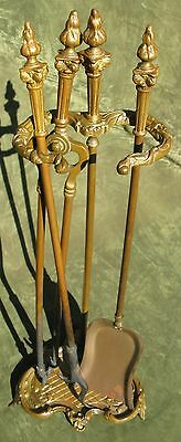 Vintage French Rococo Style Brass Fireplace Tool Set 3pc Stand