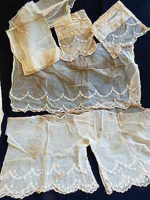 Antique Ecru Color Handmade Victorian-Edwardian  Lace Camisole Parts For Crafts