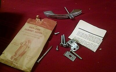Vintage National lock co. Door pulls cabinet catch chrome & white lines N61-308