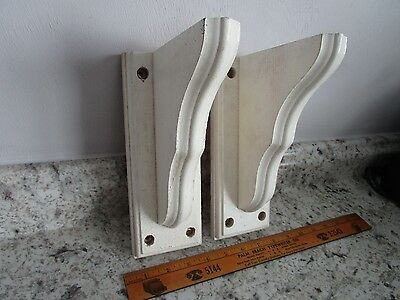 "Vintage Wood Corbels - White Painted - 9"" tall - Shelf brackets"