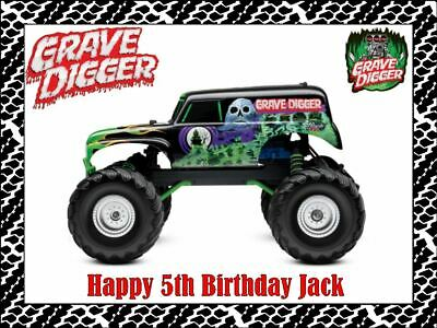 GRAVE DIGGER MONSTER TRUCKS A4 Edible Icing Birthday Cake Decoration Topper #1