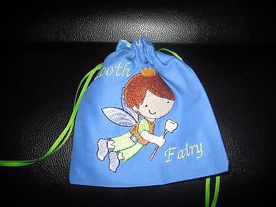 Tooth Fairy Bag, Embroidered Blue Boy Fairy Tooth Fairy with Poly Satin Lining