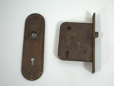 Door Lock & Blackplate Antique Yale Mortise Floral Design Vintage Early 1900s