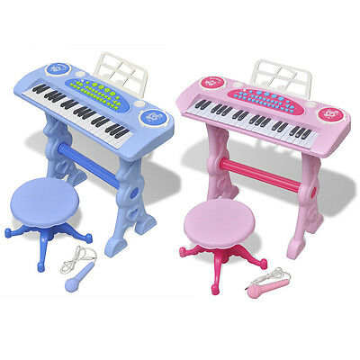 Kids Children Toy Keyboard Piano Instrument with Stool/Microphone Pink/Blue