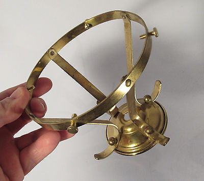 "Vtg retro solid brass unusual size light fixture fitter 4 1/2"" ID"