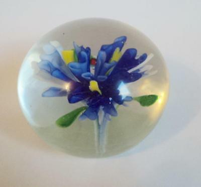 Sommerso Art Glass Paperweight Royal Blue Yellow & Green