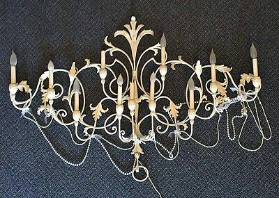 Vintage Shabby Chic French Chandelier Wall Sconce Light Fixture w Faux Pearls