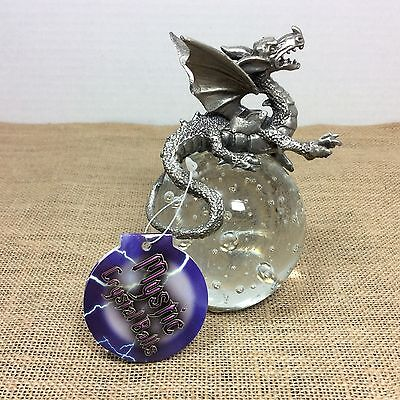 NEW!! Mystic Crystal Balls Pewter Dragon on Crystal Ball  Bubbles Paperweight