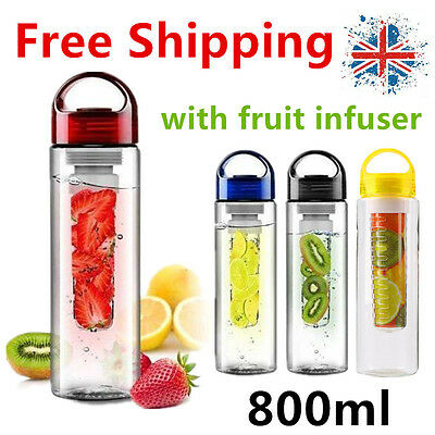 800ML Fruit Fuzer Infusing Infuser Water Bottle Sports Health Juice maker Cup VP