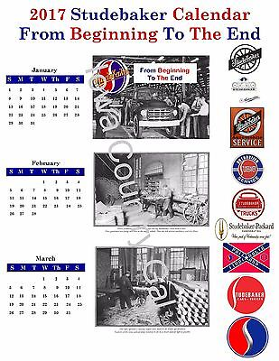 "NEW 2017 STUDEBAKER ""FROM THE BEGINNING TO THE END"" LAMINATED CALENDAR 8.5 x 11"