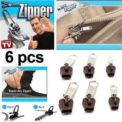 Hot TV 6Pcs Fix A Zipper Zip Slider Rescue Instant Repair Kit Replacement YA