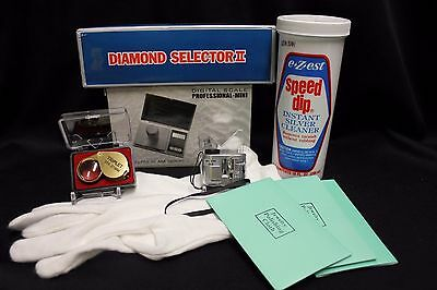 Jewelry Diamond Clean & Tester Kit Microscope Magnifier Silver Cleaner Scale