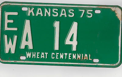 EW A 14 = 1975 Ellsworth County Kansas License Plate     $4.00 US Shipping