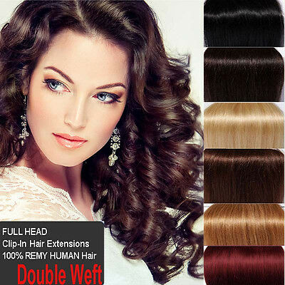 Double Weft Clip In Remy Human Hair Extensions Full Head Thick DIY Wavy US N080
