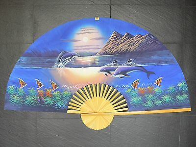 "DOLPHINS~ Extra Large 60"" HAND PAINTED CHINESE / ASIAN WALL FAN ~151cm x 90cm"