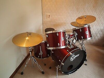 Gretsch Blackhawk Red Drum Kit + Paiste PST cymbals & Hardware