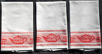 3 VINTAGE COTTON HUCK FABRIC HAND TOWELS w/ SWEDISH WEAVING GRAY w/ RED TEAPOTS