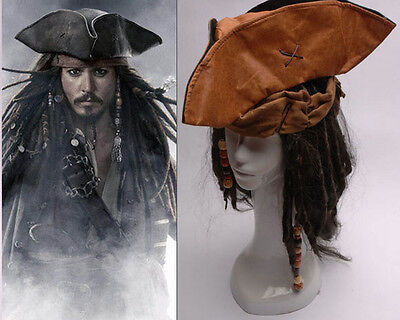 Pirates of the Caribbean Jack Sparrow Perruque Barbe Chapeau Cosplay Déguisement