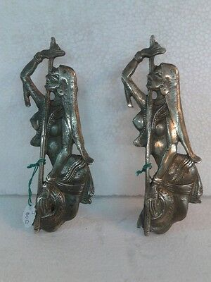 Antique Classical Brass Meera Bai Design Door Handle Pair Home Decor Pull Hand