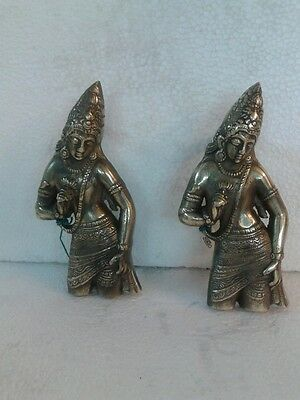 Antique Brass Vishnu Design Door Window Handle Pair Room Home Decor Pull Hand