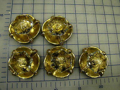 Crystal Drawer Pulls Forenta California 1968 Sea Shell 18K Gold Plate 5Pcs