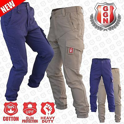 Mens Cargo Pants Work Trousers Elastic Banded Ankle Cuff Cotton Tapered UPF 50+
