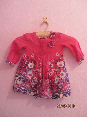 monsoon little girls tunic top/dress and leggings blue age 3-4 pink/floral top