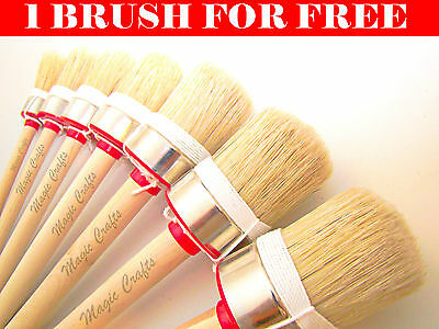 45 30mm SET OF 2 SHABBY CHIC CHALK PAINT WAX WRAPPED PURE BRISTLE  BRUSH