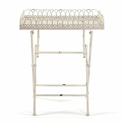 """BEAUTIFUL SIDE TABLE """"PALERMO""""   24"""", antique-white   tray table with ornaments"""
