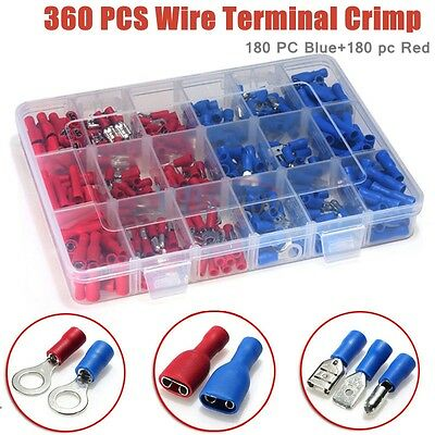 360Pcs Assorted Insulated Electrical Wire Terminals Connectors Crimp Spade Set