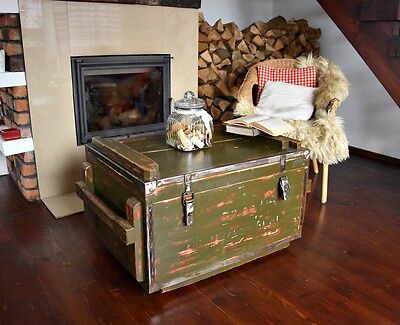 Vintage Antique Old Military Army Chest Trunk Box green loft industrial end tabl