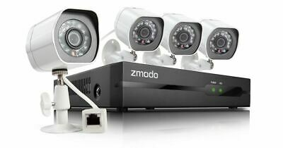 Zmodo 1080p 8CH NVR Home Surveillance System 4 WiFi Camera Outdoor/Indoor No HDD
