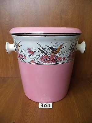 Rare Victorian Baby Pink Lustre Slop Pail / Chamber Pot Crown Ducal SPRINGTIME
