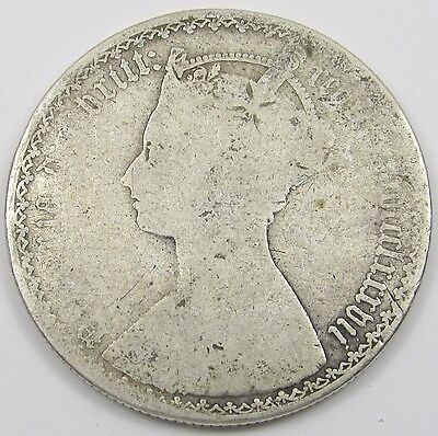 QUEEN VICTORIA SILVER GOTHIC FLORIN/ TWO SHILLINGS dated mdccclxxxvii  - 1887