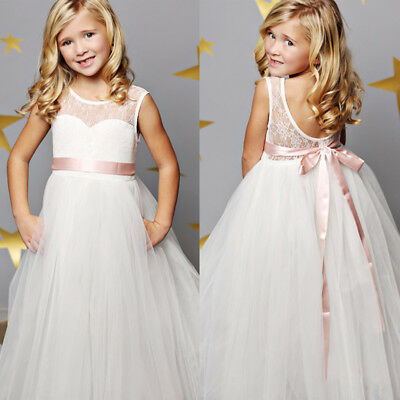White Flower Girl Dress Princess Vintage Special Occasion Party Wedding Dresses