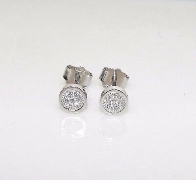 NEW 925 Silver 5mm Round Bezel Set Micro Pave Created Diamond Stud Earrings