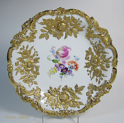 """Antique MEISSEN Hand Painted Gold Encrusted Bowl Plate - 12.25"""" Gold Jubilee"""