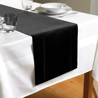 Hem Stitch Table Runner Black 100% Polyester Dining Table Cover New