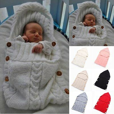 Newborn Infant Baby Soft Knit Crochet Wool Sleep Bag Swaddle Wrap Quilt Crib