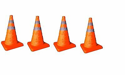 """4 x 15"""" Collapsible Pop Up Portable Safety Cone Football Traffic Posts Driving"""