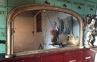 Antique Mantel Mirror Wood And Gesso Frame Distressed Glass