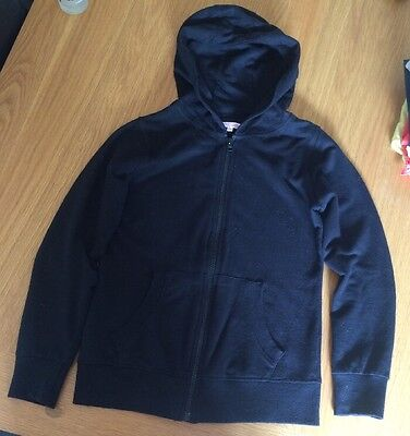 Girls Black Hooded Zip Up Jacket Good Condition Age 11-12yrs Miss-Evie
