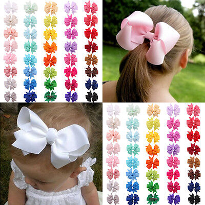 40PCS Kids Baby Girls Boutique Ribbon Hair Bow Clips Hairpins Hair Accessories