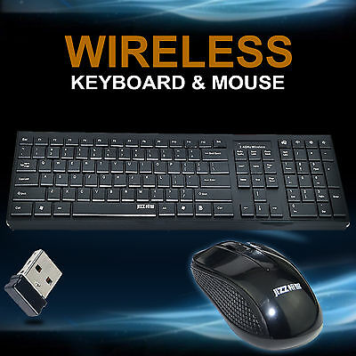 2.4GHz Cordless Wireless Black Keyboard and Optical Mouse USB Receiver Set
